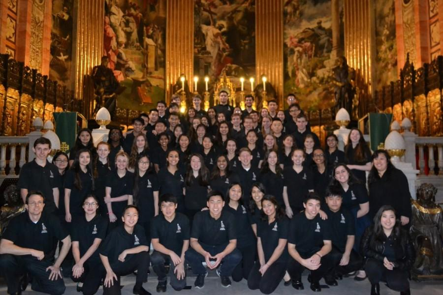 Students from the Langley Orchestra prepared for their performance in the Basilica of San Francisco in Madrid, Spain.