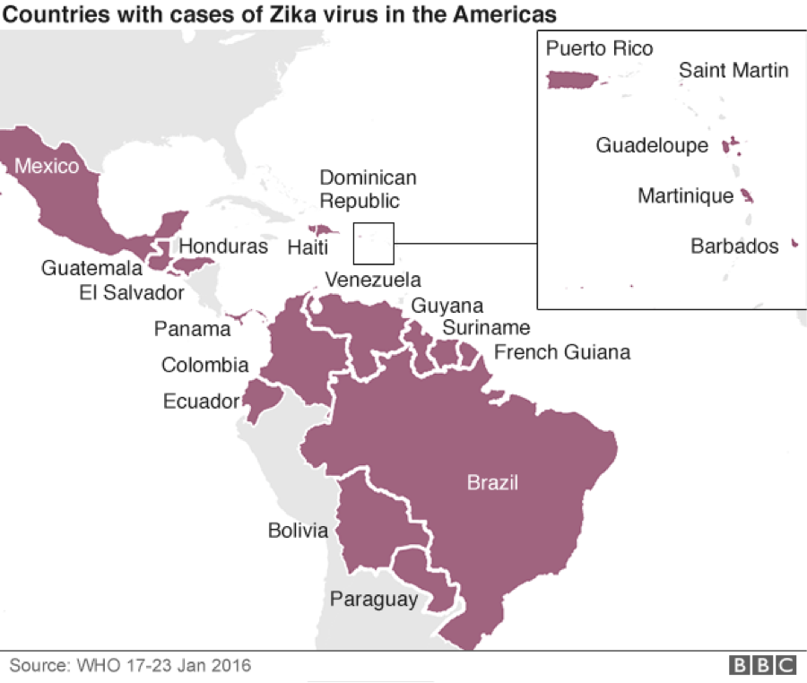 According to the World Health Organization, the Zika virus has already been found in 21 countries in the Caribbean, North and South America, and is likely to spread across nearly all of the Americas. Photo by BBC News.