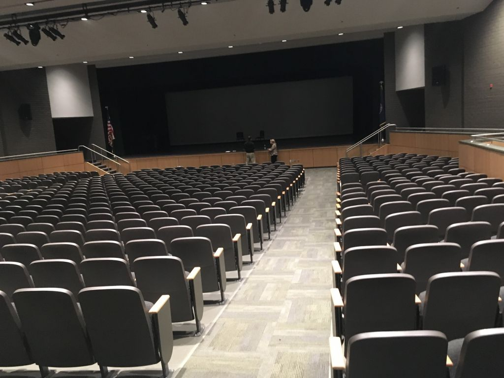 The renovated auditorium where Harvey will be performed.