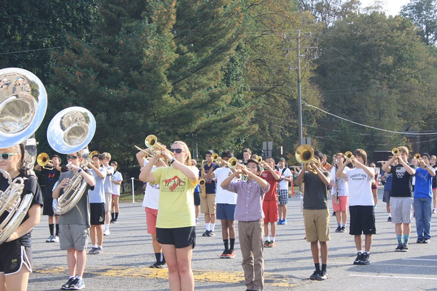 Students practice for their upcoming performance at the home football game after school. (Photo by Nik Popli, Managing Editor)
