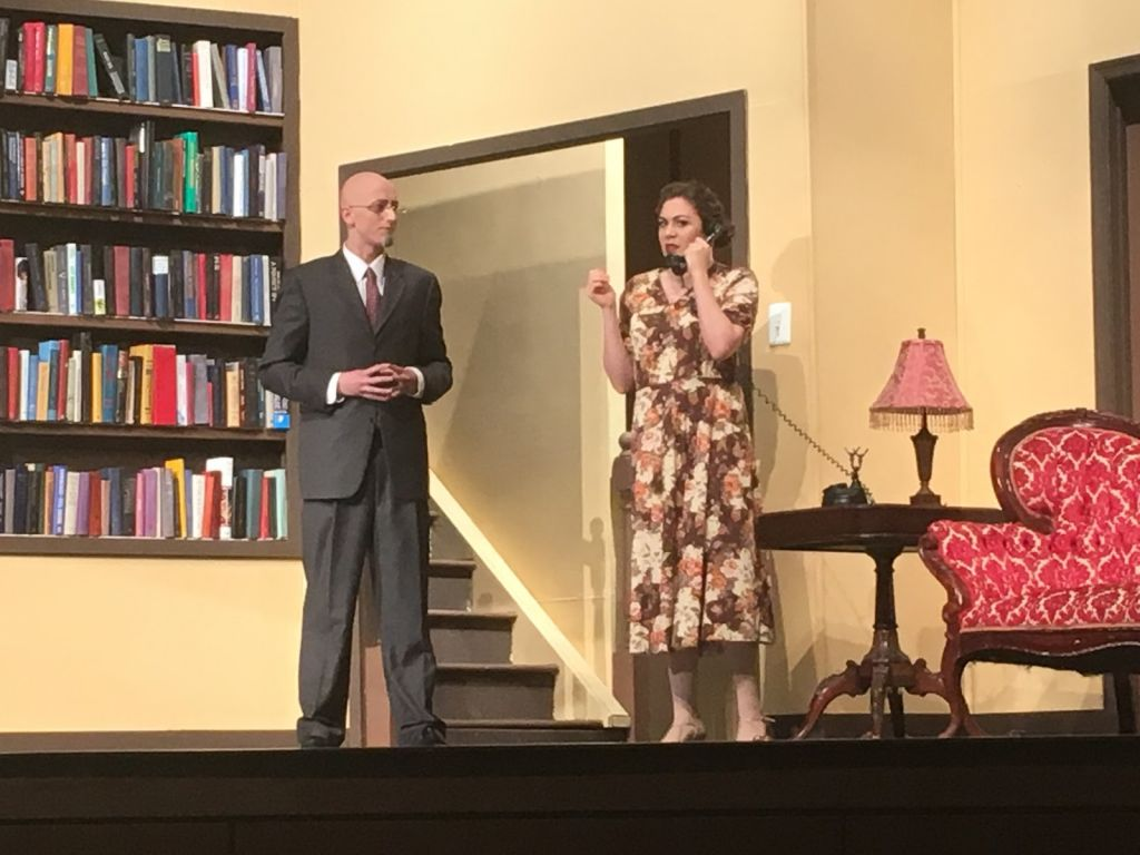 Jamie Goodson and her fellow castmate, Thomas Miner, performing in Harvey on December 2nd.   She played Veta Louise Simmons, the sister of Elwood P. Dowd.