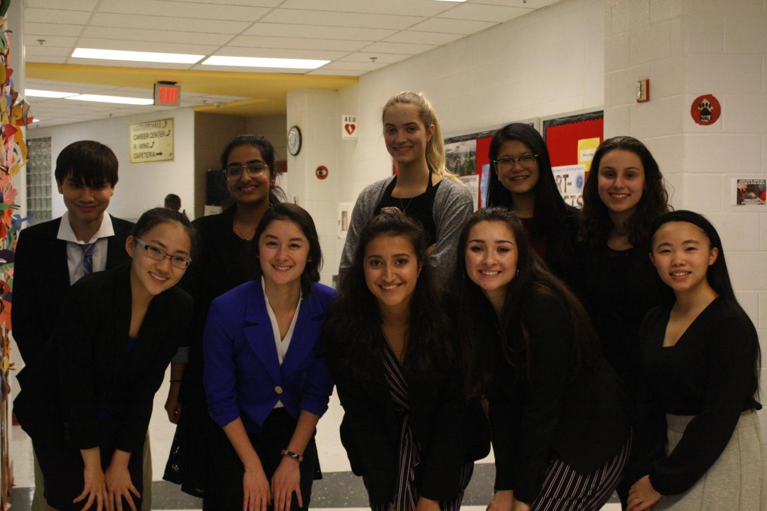 Speech team members gathered for a group photo.