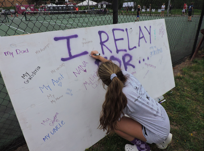 A+Langley+student+signs+the+Relay+for+Life+%22I+Relay+For...%22+board.