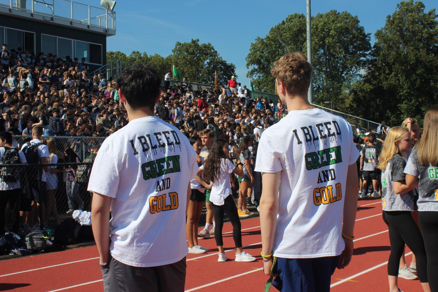 Varsity fall sports captains were introduced during Langley's annual homecoming pep rally (Photo by Maddie Koenig).
