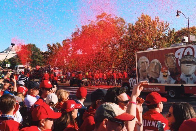 The Washington Nationals were welcomed back into D.C. with a rousing chorus of cheers and festivities many Langley students attended to honor their victory (Photo by Emma Frank).