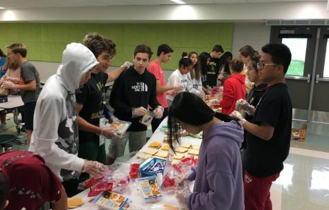 Students gather together once a month to engage in service activities like making toys, writing letters, and organizing crafts (Photo by Aisha Shakeel).
