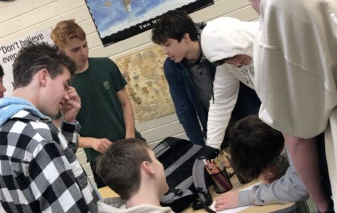(From left to right) Sophomores Owen Kohm, Evan Preta, Eric Bellino, Will Jordan, and Ben Leone meet for an official meeting of the newest Langley Film Club (Photo by McDowell).