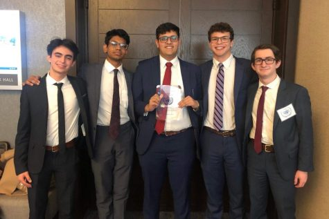 From left to right: seniors Diego Morandi, Surya Reddy, Kavye Vij, Alex Hutner, and junior Daniel Kalish pose with their fourth and final win at Old Dominion University (Photo by Stocks).