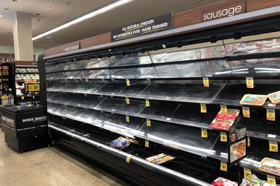 As people in Great Falls prepare for COVID-19 to impact food supplies, many stores like Safeway are stripped of all products--only exacerbating the crisis (Photo by Sherry).