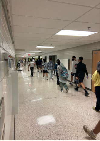 Students walk to the cafeteria on Tuesday, October 5th, two days after the reported incident. Many students decided to stay home on Monday because of the apparent threat, leaving the hallways half empty.